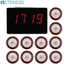 Retekessワイヤレス通話システムレストランポケットベル音声放送受信ホスト + 10 個のコールボタンコール顧客サービスF3360