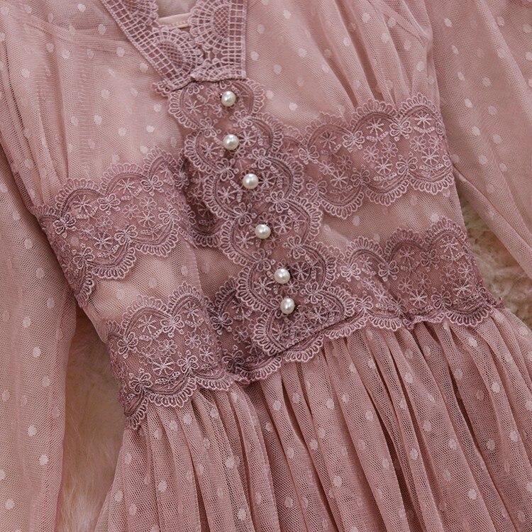 V-neck Gauze Bubble Sleeve Buttons Mesh Lace A-line Dress