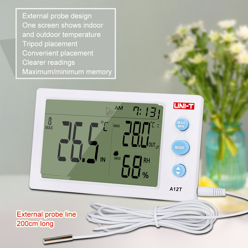 A12t Digital Temperature Humidity Measuring Instrument External Sensor Probe Alarm Clock And 12/24 Time Mode Large Screen High Safety