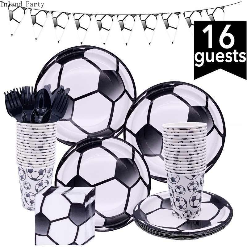 Sepak Bola Pesta Ulang Tahun Tema Set Peralatan Makan Serbet Cangkir Taplak Meja Bendera Jerami Bayi Shower Anak-anak Membantu Anak Laki-laki Dekorasi Pesta