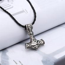Unissex vintage jóias punk estilo viking pingente thors martelo mjolnir colar viking rune amuleto nenhum homem colar para mulher d20
