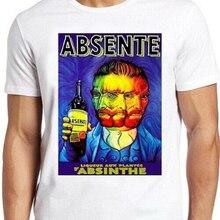Absenta T camisa Vincent Van Gogh divertida Vintage regalo Tee 151, escape, Sin City, blanco sobre negro, silkscreen, mano impresa, Camiseta de algodón,