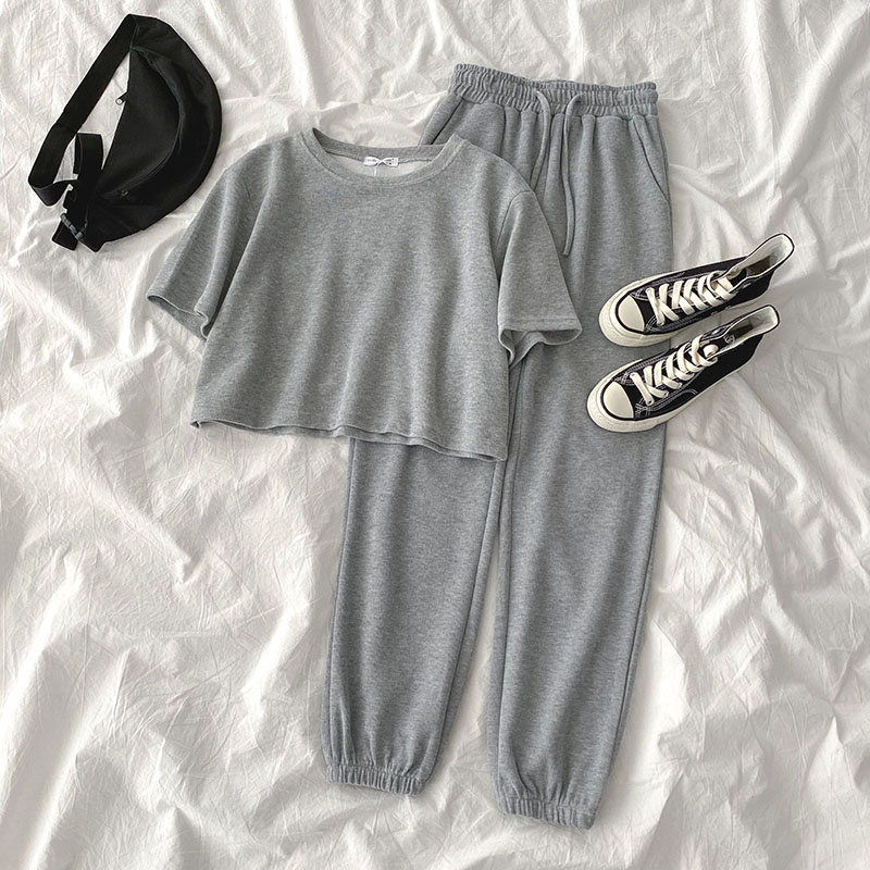 Casual Student Two-piece Suit Summer 2020 Women Tracksuit Fashion O-neck Short Tops + High Waist Harem Ankle Length Pant