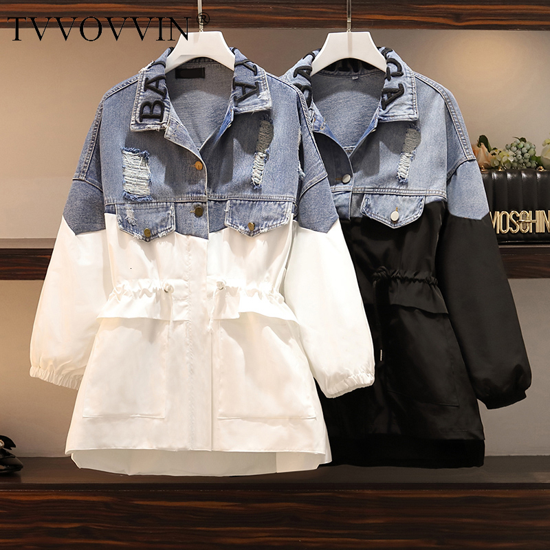 Patchwork Denim Women's Windbreaker Lapel Lantern Sleeve Hit Color Drawstring Plus Size Coat Female 2019 Autumn Fashion X691
