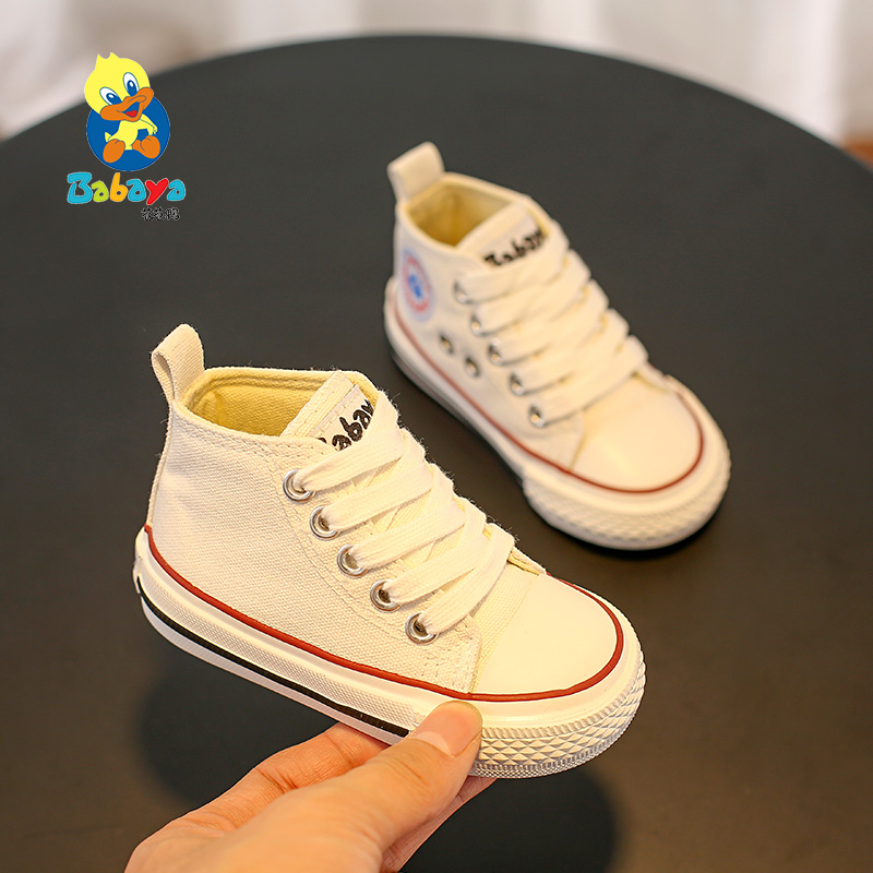 Babaya Baby Shoes 1-3 Years Old Baby Kid Canvas Shoes Boys White Shoes 2019 Spring School Girls Casual Shoes Soft Bottom