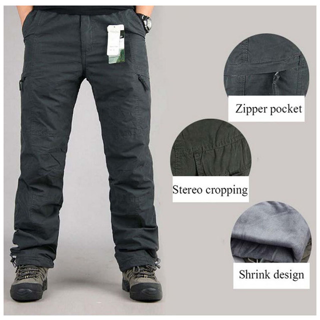 Men's Cargo Pants Thick Fleece Multi Pockets Military Tactical Pants Cotton Men Outwear Straight Casual Trousers for Winter PA23 4