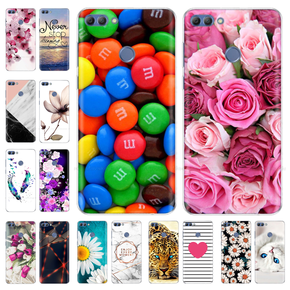 Huawei P Smart Case Soft Silicone Transparent Back Cover TPU Phone Case For Couqe Huawei P Smart Cover FIG-LX1 Enjoy 7S Case