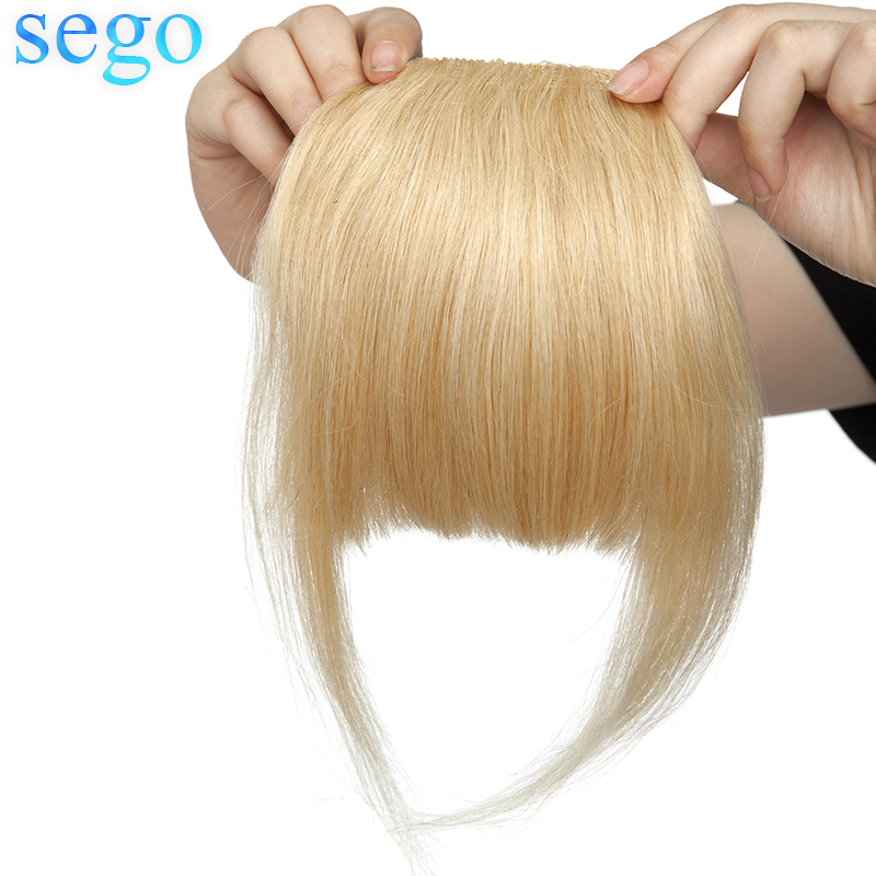 SEGO 23G 2 Clips in Straight Human Hair Bangs Non-remy Blunt Sweeping Side Bangs 100% Human Fringe Hair Pure Color 1Piece