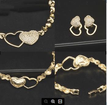 Lateefah spersonalizowana moda biżuteria cały zestaw ślubny Wemen naszyjnik kolczyki bransoletka pierścionek dla kobiet tanie i dobre opinie Ze stopu cynku CN (pochodzenie) Serce Fashion Alloy Electroplating Women Earrings + Necklaces + Bracelets Individual package