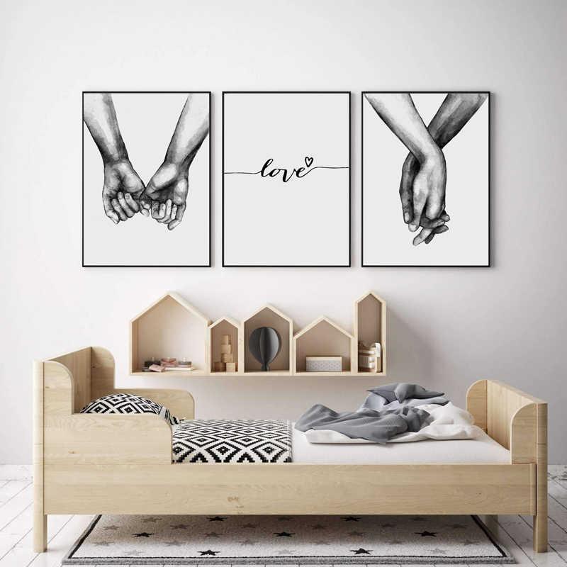Скандинавский задний белый стиль сладкий любовь стены искусства холст плакат минималистичный принт Любовь картина с цитатами картина для декора гостиной