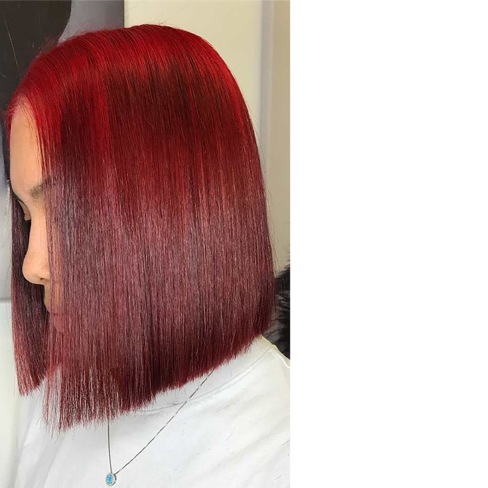 13X4 Frontal Lace Wig Burgundy 99J Color Wig 150% Pixie Short Bob Cut  Wigs  Preplucked   3