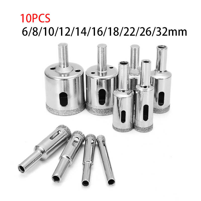 10 pcs 6 32mm diamond drill bit set use for glass tile marble granite core hole saw drill bits electric drilling tool