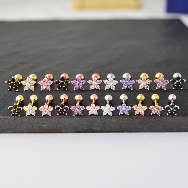 1 pcs Stainless Steel Piercing Cartilage Earring Women CZ Tragus Black Pink Stud Helix Piercing Flower.jpg 640x640 - 1 pcs Stainless Steel Piercing Cartilage Earring Women  CZ Tragus Black Pink Stud Helix Piercing  Flower Stud Earring Brincos