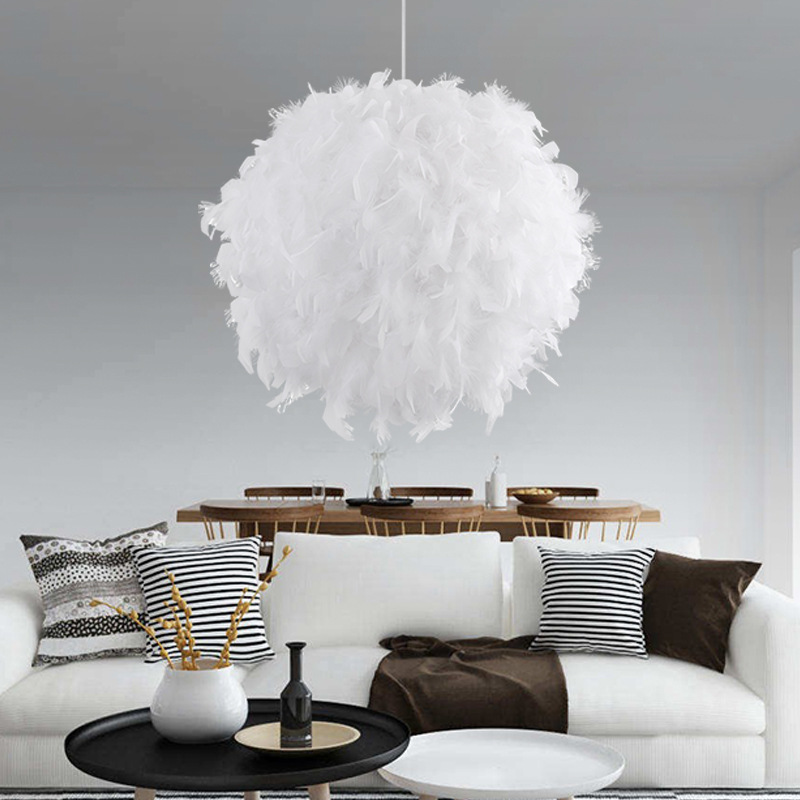 Feather Chandelier Bedroom Children's Room Living Room Decoration Personality Fashion Simple Romantic White Pink Ball Lightings