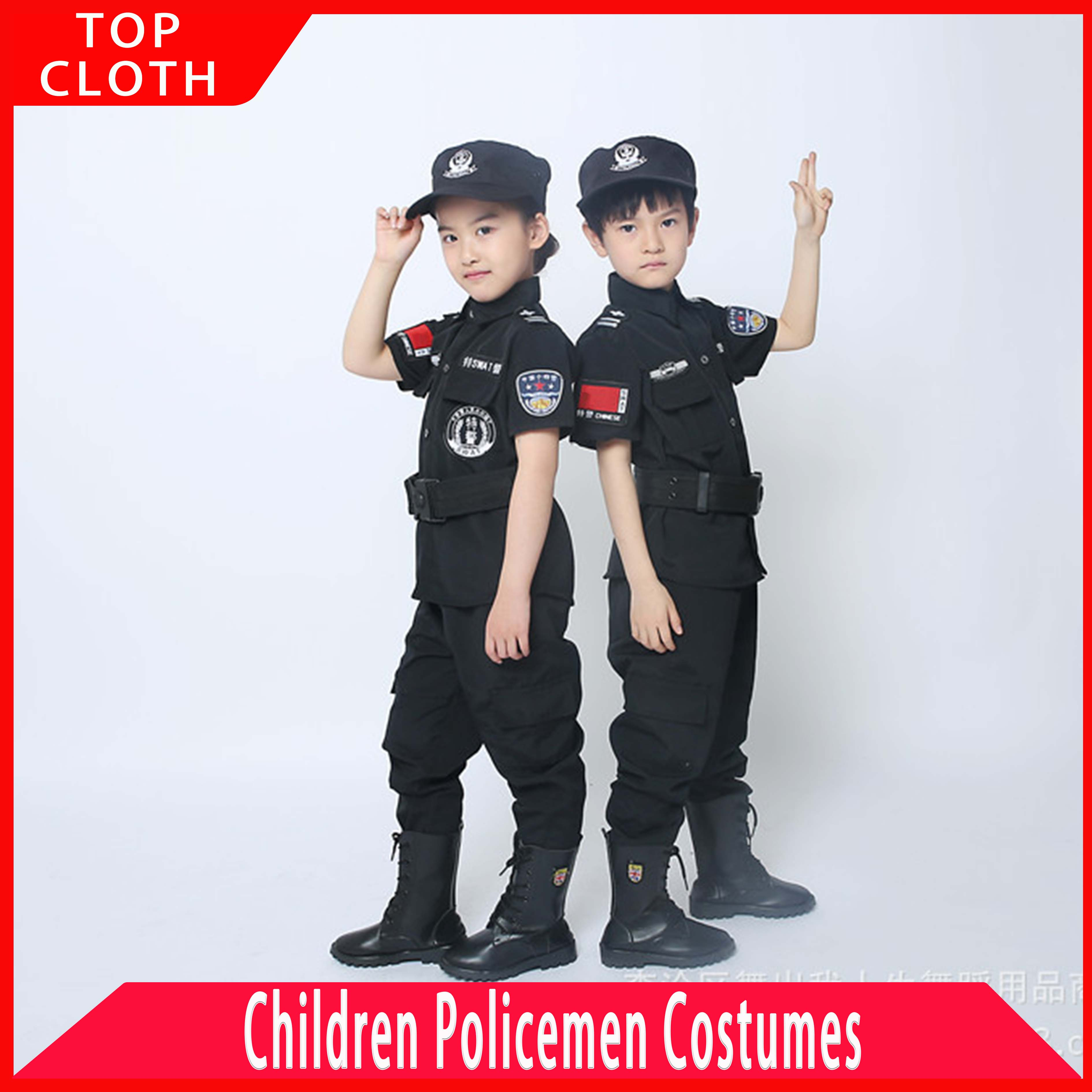 Special Police Clothing For Boy Girl Policemen Uniform Children's Birthday Xmas Gift Cosplay Costume Kids SWAT Army Performance