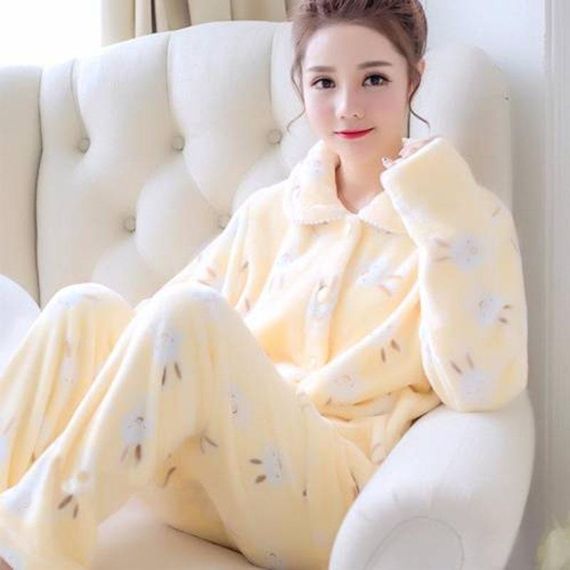 Femmes Pyjamas ensemble printemps automne nouveau chaud dessin animé imprimé à manches longues mignon vêtements de nuit décontracté Homewear femme Pyjamas