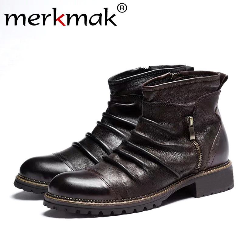 Merkmak New Autumn Men Leather Boots Fashion Retro Zipper Ankle Booties Breathable Big Size Male Motorcycle Boots Party Shoes