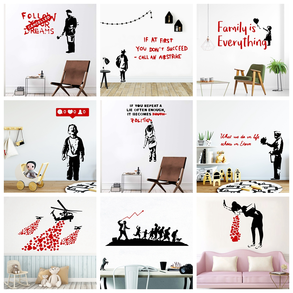 Modern Banksy Wall Stickers For Kids Room Decoration Vinyl Wallpaper Living Room Wall Decal Sticker Mural Home Decor