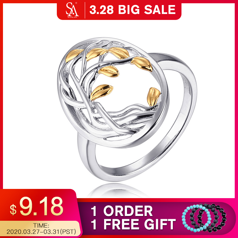SA SILVERAGE Authentic 925 Sterling Silver Life Tree Shape Engagemant Wedding Ring 925 Silver Gold Color Plated Rings For Woman