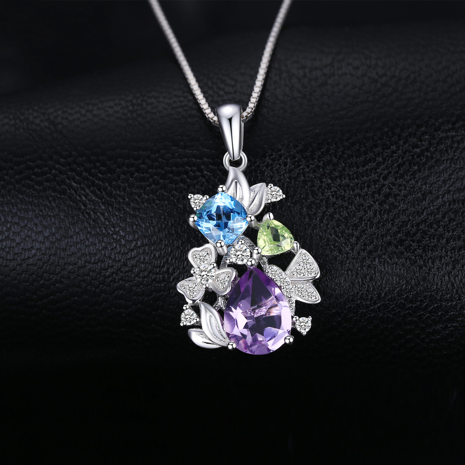 Image 2 - Flower Natural Amethyst Peridot Topaz Pendant Necklace 925  Sterling Silver Gemstones Statement Necklace Women Without  ChainNecklaces