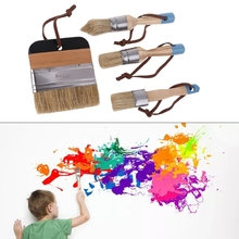 4 Pcs Round Flat Pointed and Wide Chalk Paint Wax Brush Ergonomic Wood Handle Natural Bristle Brushes Furniture DIY Waxing 449C