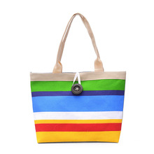 BELLELIFE Striped Patchwork Canvas Tote for Women New Panelled Print Messenger Shoulder Bag Female Graffiti Handbags Lady Bags new 2017 brand design women panelled trapeze bag wings tote split leather handbags for female lady messenger bags an324