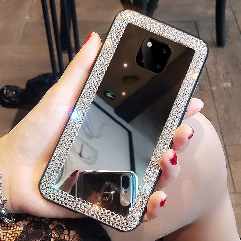 <font><b>Diamond</b></font> Makeup Mirror <font><b>Case</b></font> For <font><b>Huawei</b></font> <font><b>P20</b></font> lite P30 Mate 30 Pro Y6 Prime 2018 Y9 Prime Y7 Pro 2019 Y5 2018 V30 Bling BACK Cover image