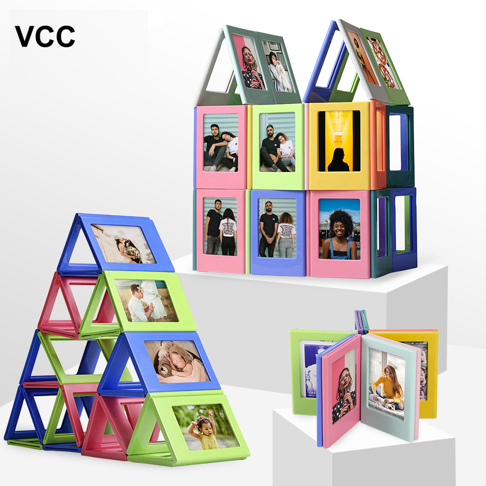 DIY Photo Frame Magnetic Building Block Frames Child Photos Puzzle toy Gif Random Combination Picture