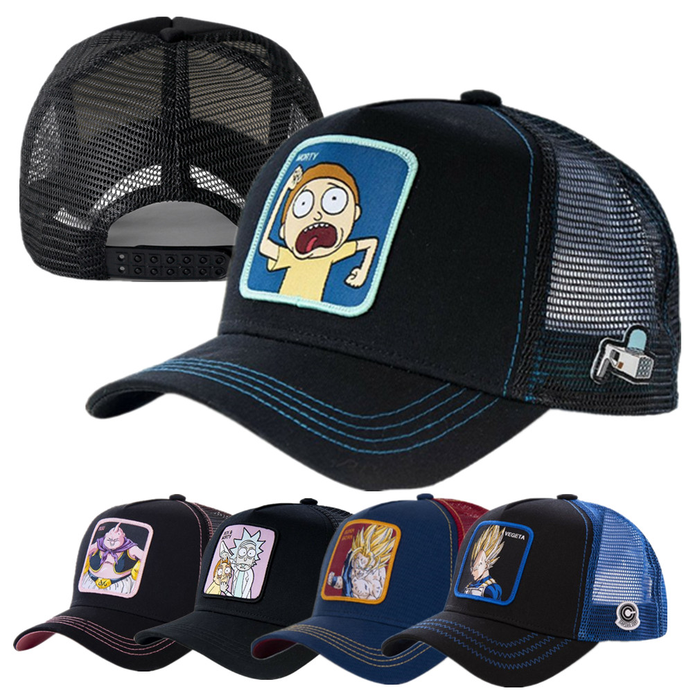 Newest Famous Anime Brand Mesh Hat 50 Styles Trucker Baseball Cap High Quality Curved Brim Cap Gorras Casquette Dropshipping
