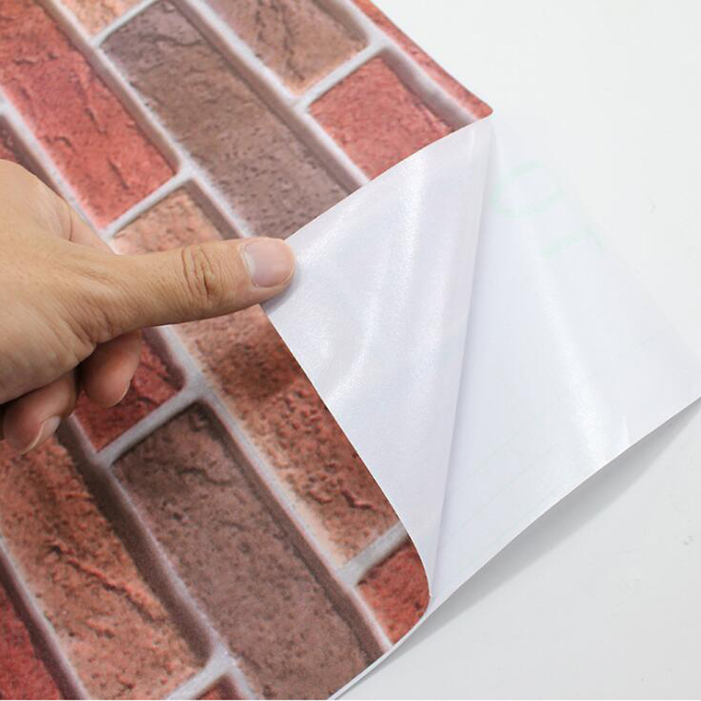 Red Stone Brick Wallpaper 3d Waterproof Oilproof Wall Sticker Self Adhesive Home Decor Living Room Bedroom Study Room Elder Room