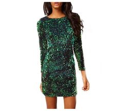 Green Sequin Dress Women Sexy Club Dresses 2019 Slim Fit Backless Bodycon Party Nightclub Mini Vintage Dress vestido lentejuelas(China)