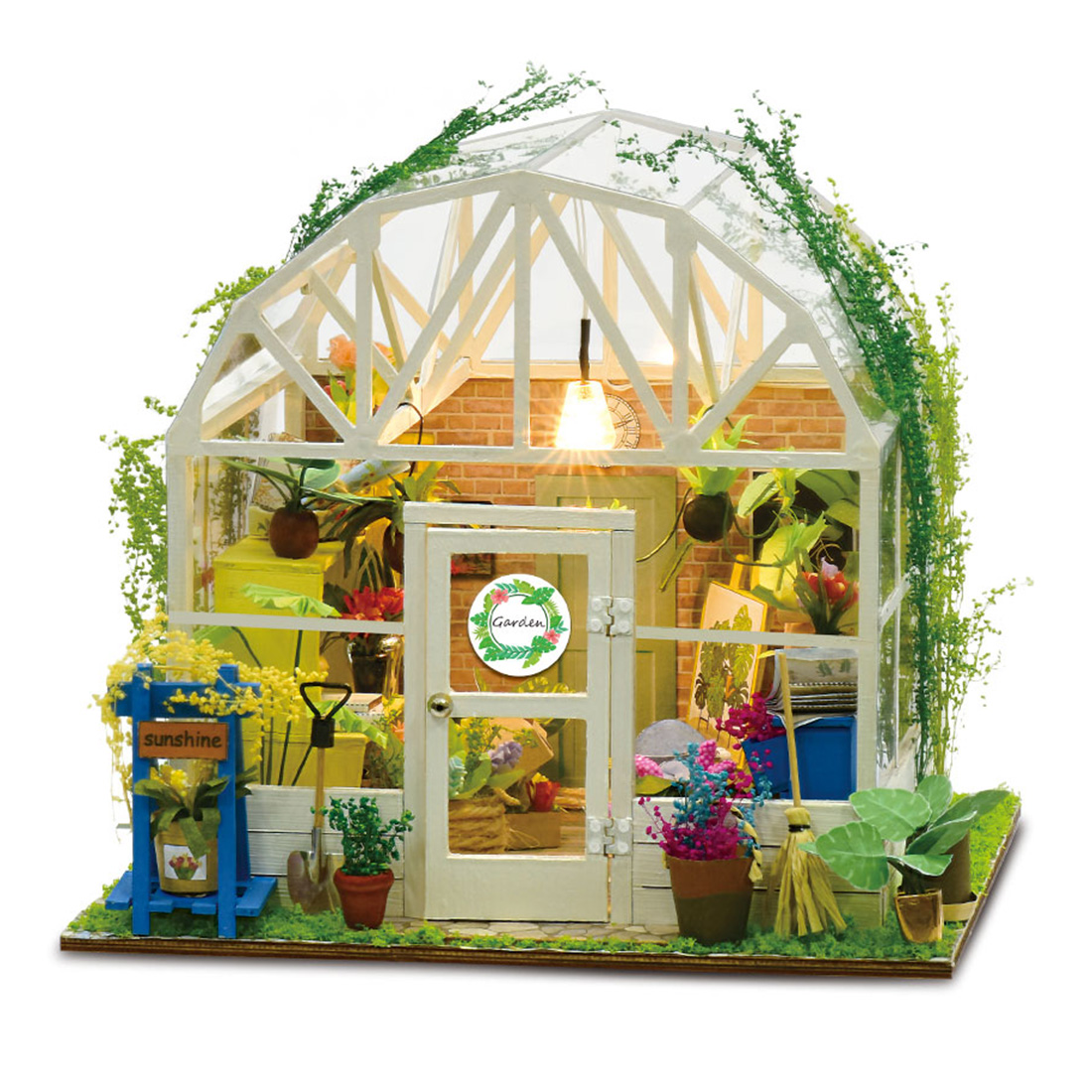 NFSTRIKE DIY Creative Handmade Theme Wooden Cabin Assembly Building Model Toy Set with Light - Romantic Flower House
