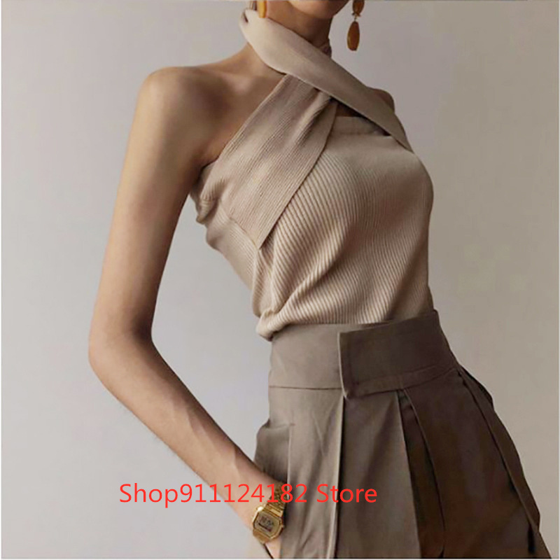 Korean Minority Style Sleeveless Neck Style Women's T-Shirt 2021 Autumn New Slim Solid Color Versatile Top