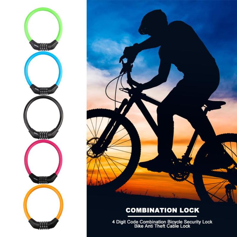 ACECYCLE Bike Lock Four-Digit Anti-Shear Cable Lock No Key Required Lightweight More Convenient to Lock The Bicycle(47.24 Inches)