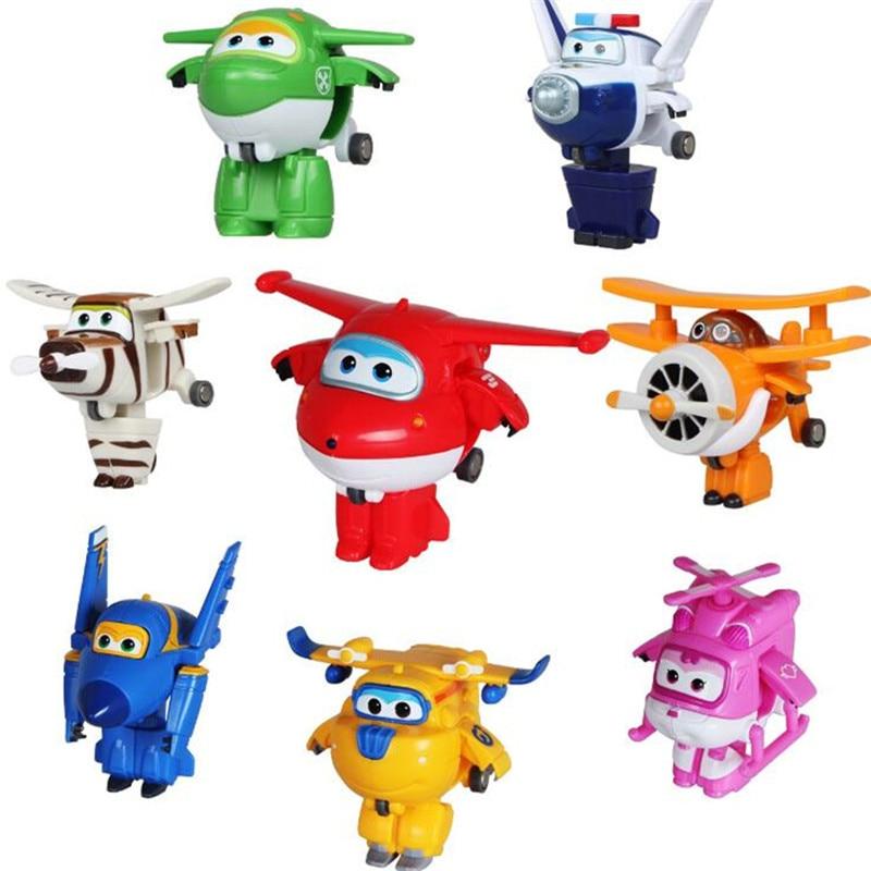 8pcs Super Wings Mini Planes Jouet Deformation Avion Robot Action Figurines