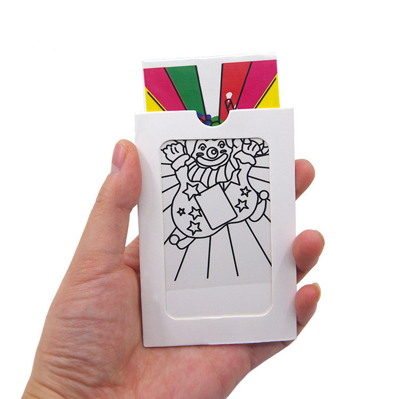 Mini Size Changing Clown Color Card Magic Tricks Toys for Children Close Up Stage Magic Props Easy To Do Classic Toys Kids(China)