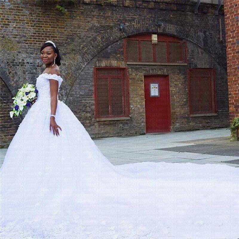 African Ball Gown Wedding Dress 2019 Off The Shoulder Luxury Big Train Wedding Gowns  Plus Size Robe De Mariee