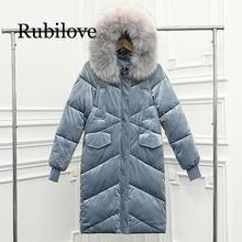 Rubilove Fashion women 2019 Velvet Down Parka Big Collar Fur Winter Large Code Jacket Long Loose Female