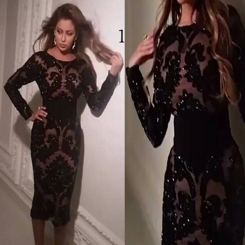 Vintage Sheath Vestido De Festa Black Lace Prom Evening Gown With Long Sleeves 2018 Robe De Soiree Mother Of The Bride Dresses