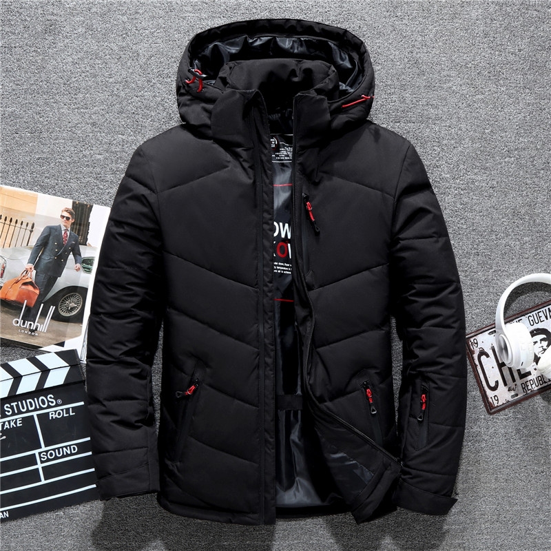 Tace & Shark Brand Men's Down Jacket Hat Detachable Windproof Autumn Winter Coats For Men White Duck Down Jacket Man