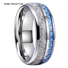 Anillo de boda de tungsteno de 8MM para hombres y mujeres, con incrustaciones de meteorito y fibra de carbono azul, caja de anillo disponible