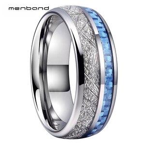 Image 1 - Anillo de boda de tungsteno de 8MM para hombres y mujeres, con incrustaciones de meteorito y fibra de carbono azul, caja de anillo disponible