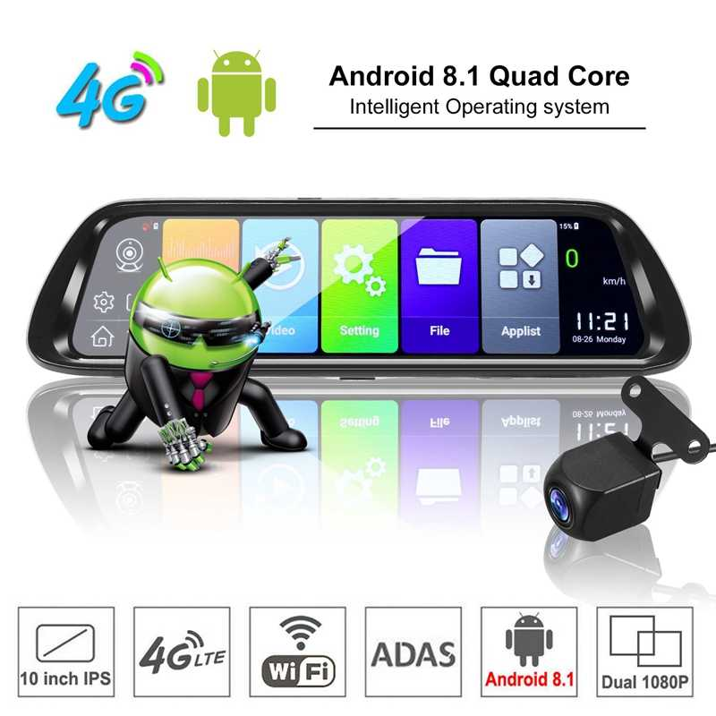 Android 8.1 Car DVR GPS Navigator Camera 10Inch FHD 1080P Stream Media Rear View Mirror 4G GPS Mirror Dash Cam Recorder ADAS Wif