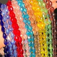 8*12mm Teardrop kryształowe koraliki Austria Faceted Waterdrop szklane koraliki dystansowe luzem koraliki do tworzenia biżuterii DIY bransoletka Charms 15''