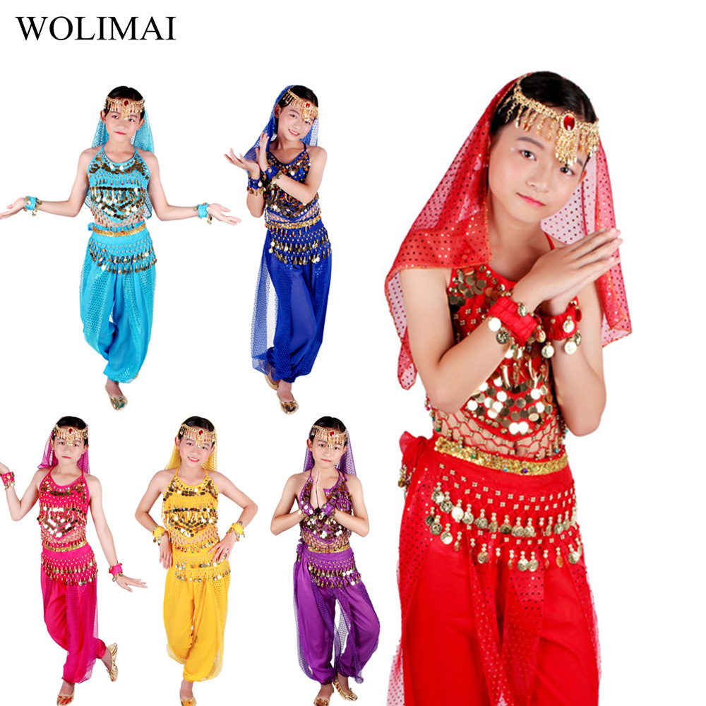 Bellydance Costumes Set Kids Oriental Dance Girls Belly Dancing India Belly Dance Clothes Bellydance Child Kids Indian 6 Colors