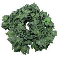Fashion12 x plantas artificiais de videira flores falsas hera pendurado guirlanda para a festa de casamento casa barra decoração da parede do jardim ou