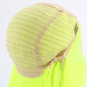 Image 5 - Lvcheryl naturalny długi jedwabisty prosto neonowy żółty kolor żaroodporna syntetyczna koronka przodu peruki na imprezę cosplay makijaż peruki