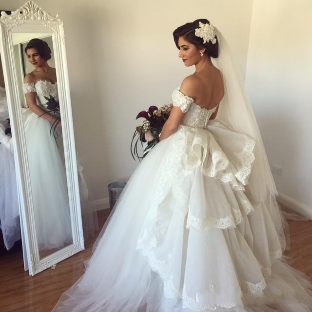 Vestido De Noiva Sweetheart 2018 Detachable Train Beaded Lace Fluffy Backless Casamento Bridal Gown Mother Of The Bride Dresses