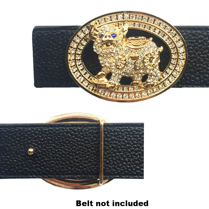 Gold & Silver Cute Pig Figure Oval Belt Buckle Accessories For Men Heavy Hard Metal Solid Brass High Quality Leather For Western