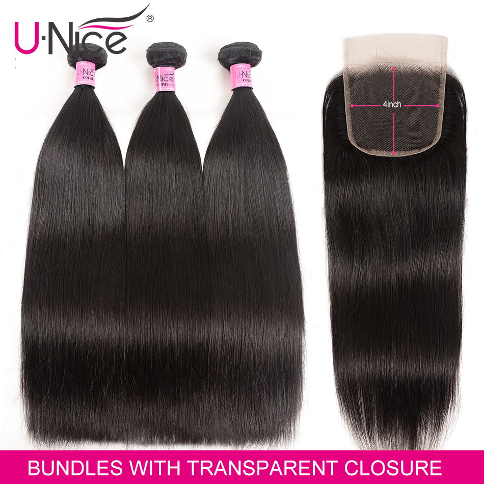 Unice Hair Human Hair Peruvian Straight Bundles With Transparent Lace Closure Remy Hair Extension 3 Bundles With Lace Closure
